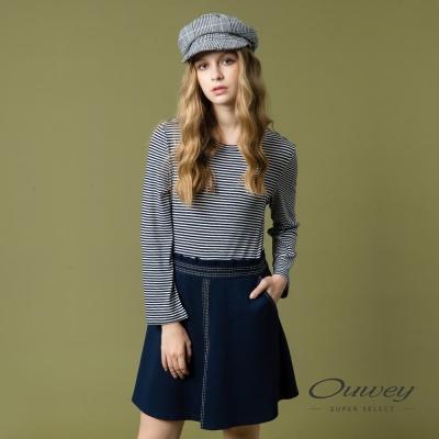 OUWEY歐薇 率性優雅條紋拼接洋裝(藍)