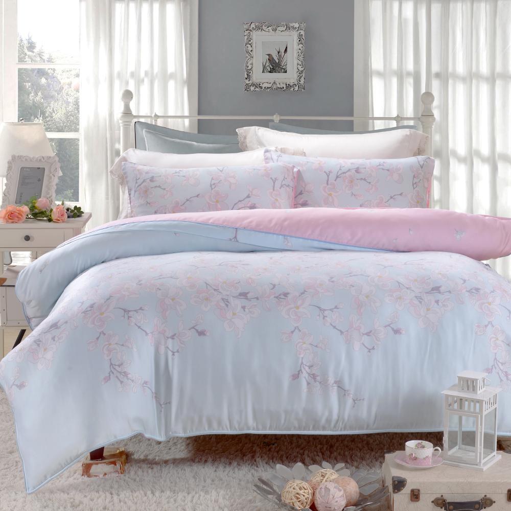 Saint Rose 唯美戀語-藍 特大100%純天絲兩用被套床包四件組