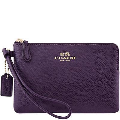COACH-葡萄紫色馬車防刮皮革手拿包