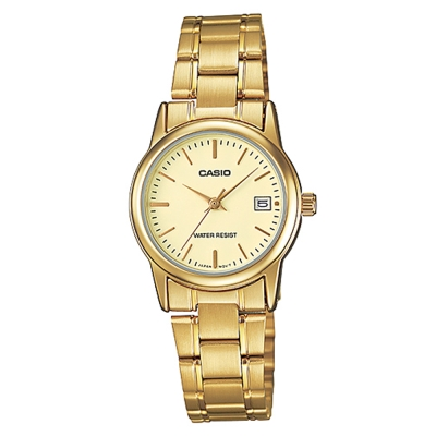 CASIO 經典復古金時尚簡約巧小日曆腕錶-黃面(LTP-V002G-9)/25mm
