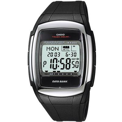 CASIO 太陽能記憶電子錶(DB-E30-1)-黑色膠帶款