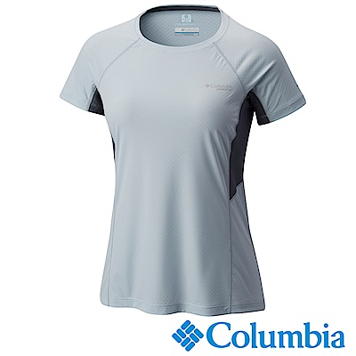 Columbia 哥倫比亞 女款-涼感快排野跑短袖上衣-灰藍色 UAR19620GL