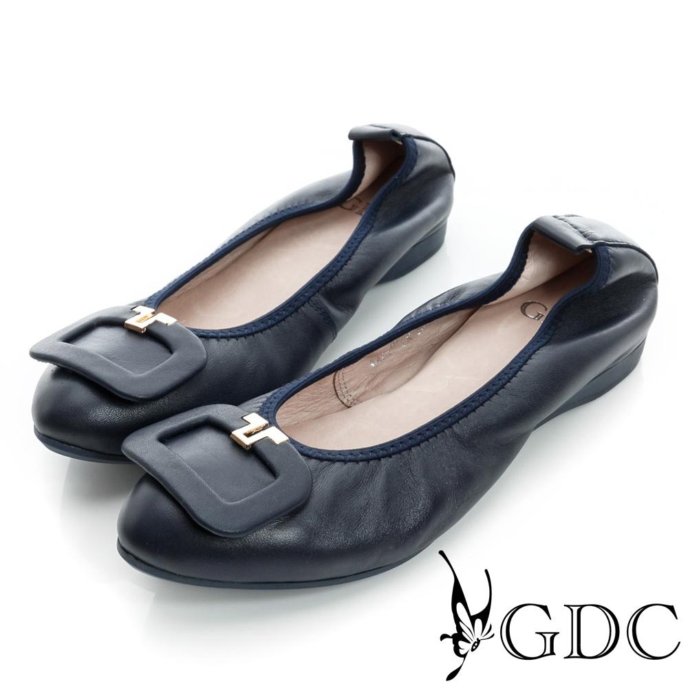 GDC都會-方形飾扣柔軟彈性真皮低跟鞋-藍色