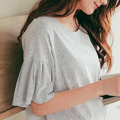 CACO-細條紋荷葉袖上衣(三色)-女【PSH084】