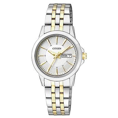 CITIZEN星辰 秀氣雙色調石英女錶  (EQ0608-55A)-銀色/27mm