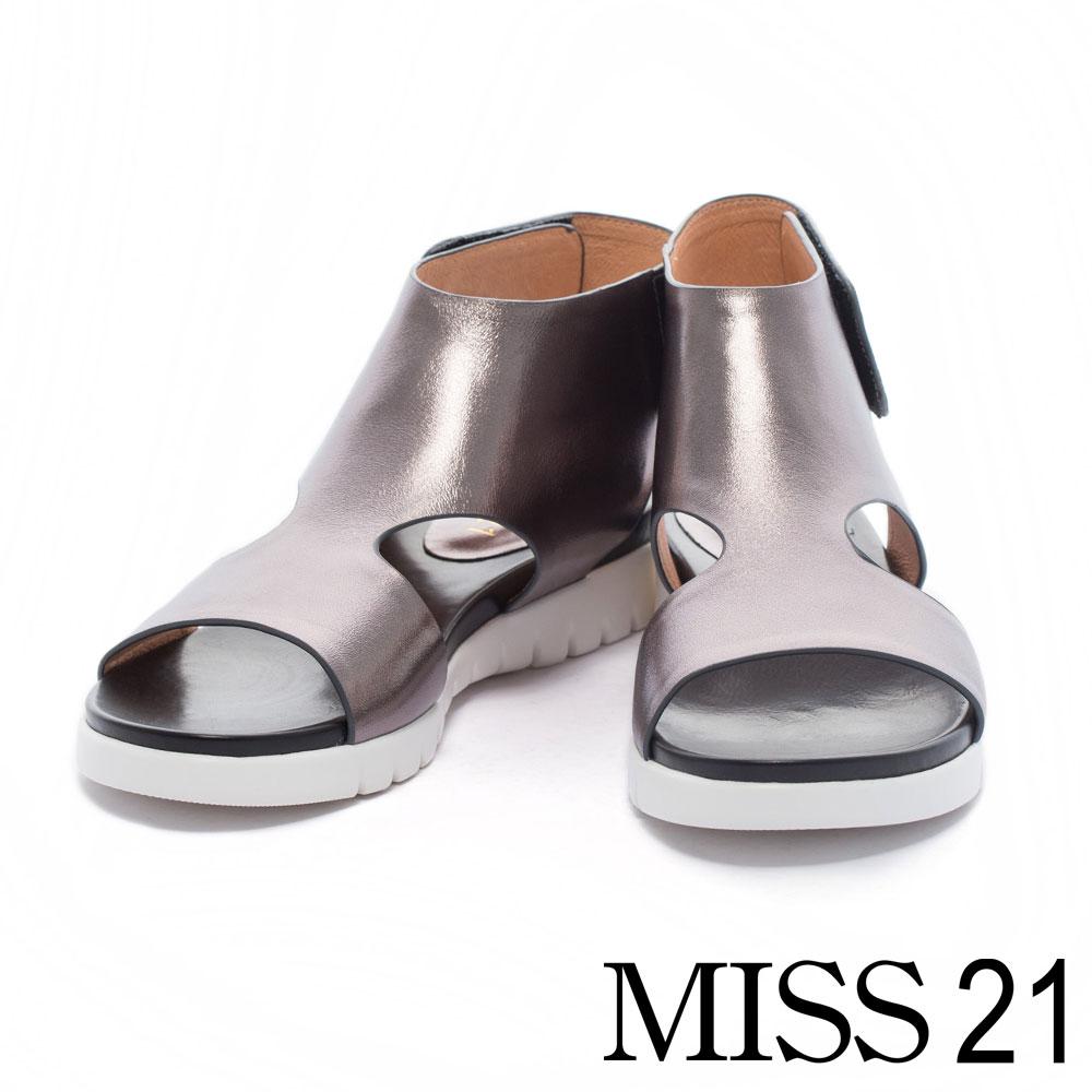 涼鞋 MISS 21 極簡主義鏤空造型牛皮厚底涼鞋-銀