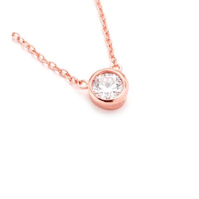 SHASHI 紐約品牌 Solitaire 圓形單鑽項鍊 玫瑰金 925純銀鑲18K