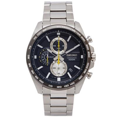 SEIKO 疾風競速風格的計時手錶(SSB261P1)-黑面X灰黑框/44mm