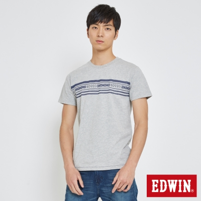 EDWIN 迦績織紋印條T恤-男-米白