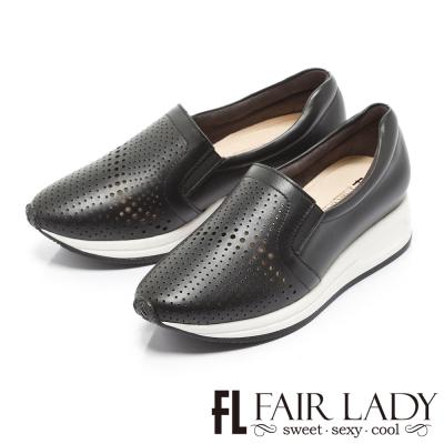 Fair Lady 幾何流線沖孔鬆緊厚底休閒鞋 黑