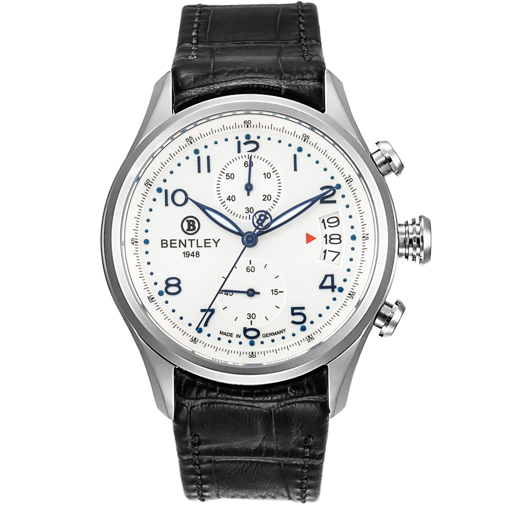 BENTLEY 賓利 AVIATOR系列 遨翔菁英計時手錶-白x黑/43mm