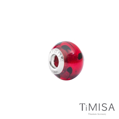 TiMISA《亮點-紅(11mm)》純鈦琉璃 墜飾串珠