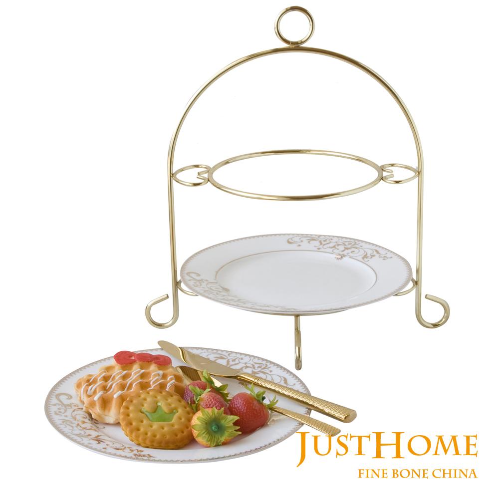 Just Home燦金高級骨瓷雙層蛋糕盤附架