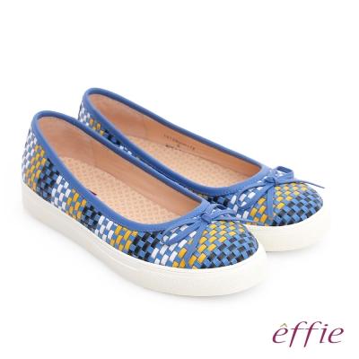 effie 輕量抗震 牛皮編織奈米透氣平底鞋 藍