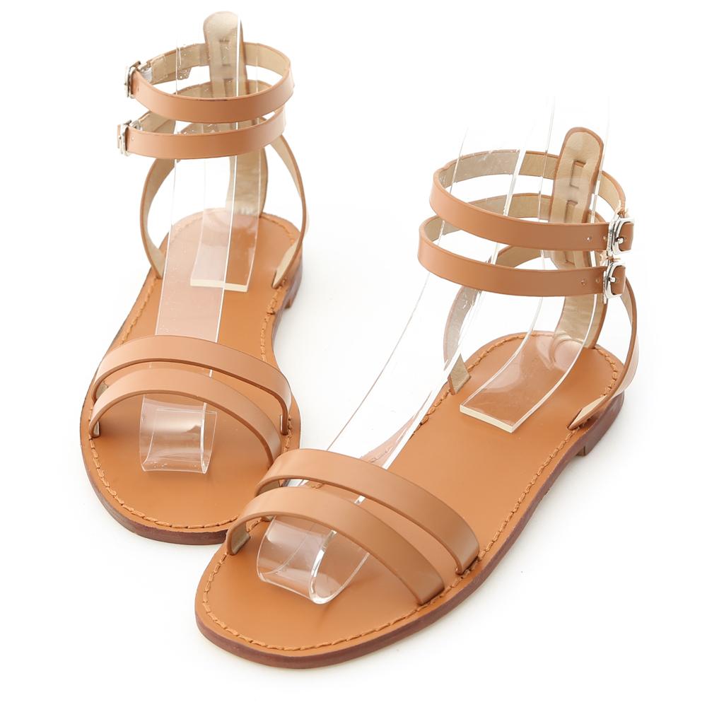 D+AF 夏日話題.一字雙帶繫踝平底涼鞋*棕