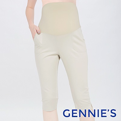 Gennies專櫃-時尚百搭素面一體成型五分褲(T4D37)-淺卡