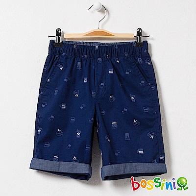 bossini男童-印花輕便短褲01海藍