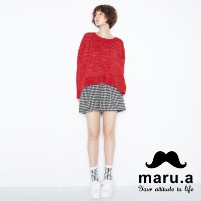 maru-a麻洛野-LOGO吊飾混羊毛短褲