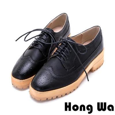Hong Wa-英倫雅痞刷舊綁帶德比牛津鞋-黑