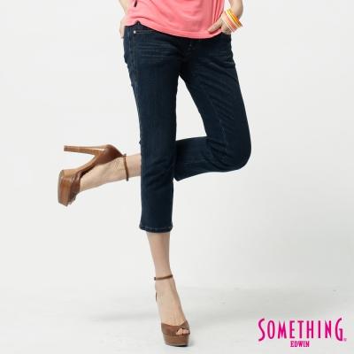 SOMETHING 七分褲 前片剪接牛仔褲-女-拔洗藍