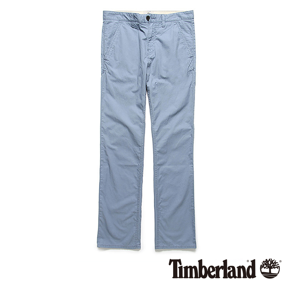 Timberland 男款淺藍色素面修身輕量休閒長褲