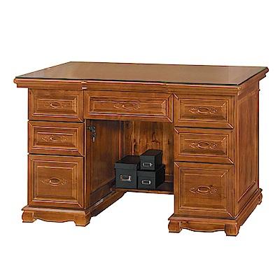 Boden-德夫4.4尺全實木主管辦公桌(附強化玻璃桌面)-131x68x82cm