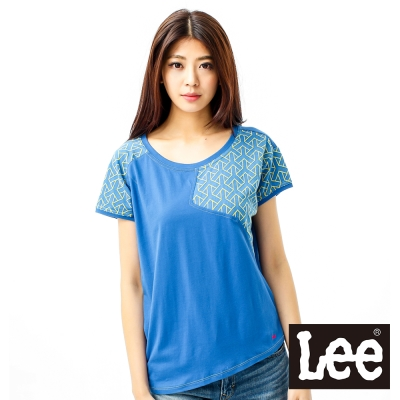 Lee-短袖T恤-科技數碼圖和素面拼接-女款-藍