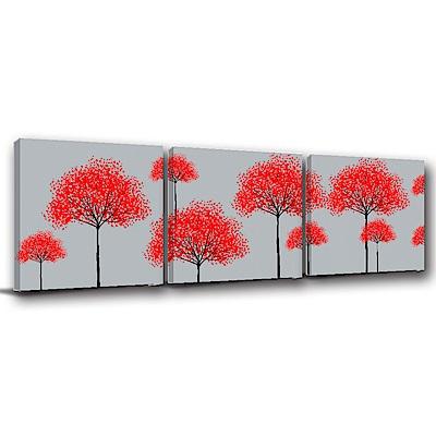 24mama掛畫-三聯式方型 掛畫無框畫 記憶中的紅樹 60x60cm