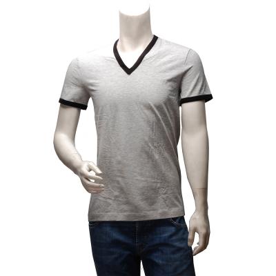 DOLCE & GABBANA 經典SPORT款滾邊V領短袖純棉素面T恤(灰X黑)