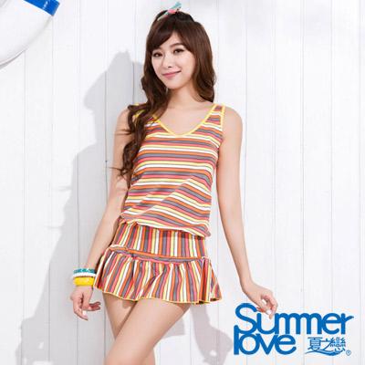 夏之戀SUMMERLOVE 橘色條紋褲裙兩件式泳衣