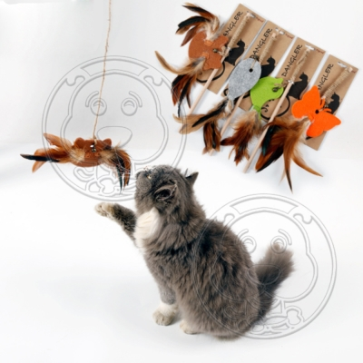 DYY》環保自然貓咪玩具羽毛逗貓桿30CM
