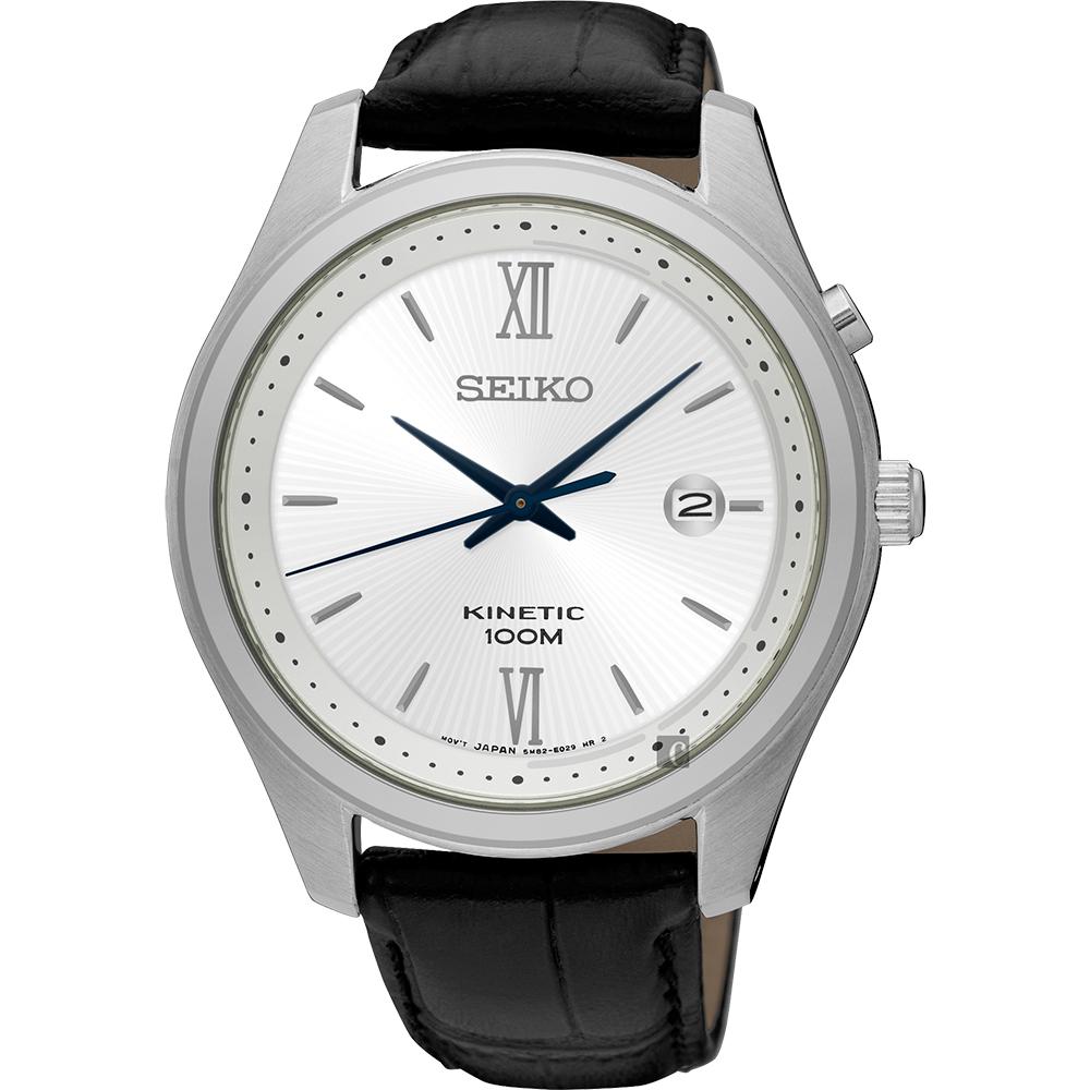 SEIKO KINETIC 紳士人動電能手錶(SKA771P1)-銀x黑/42mm