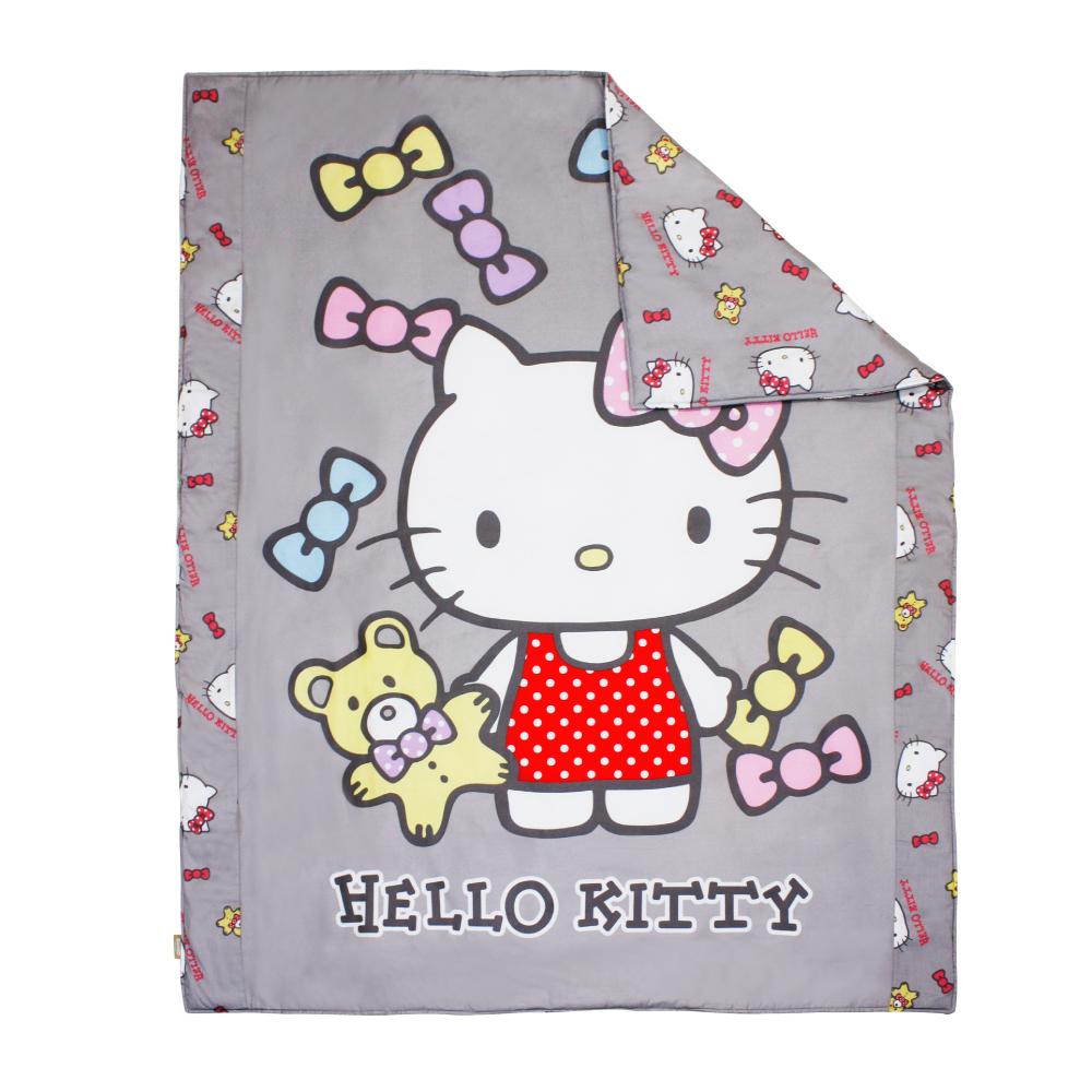 鴻宇HongYew 日本抗菌100%精梳棉-Hello Kitty哈尼小熊 灰 兒童涼被