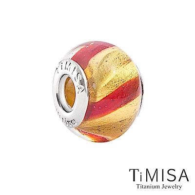TiMISA 彈珠-金紅(11mm)純鈦琉璃 墜飾串珠