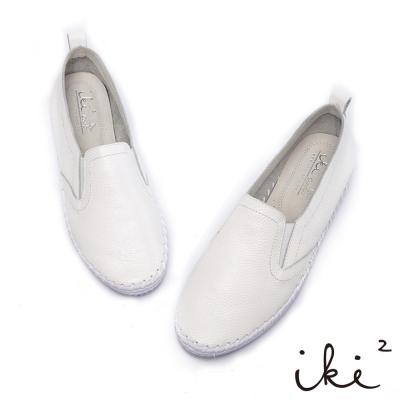 iki2新膚觸-手感縫線真皮鬆緊平底鞋-雲朵白