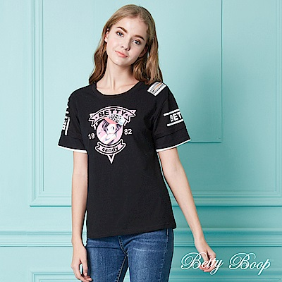 Betty Boop貝蒂 造型開洞拼接膠印袖彈性上衣(共兩色)