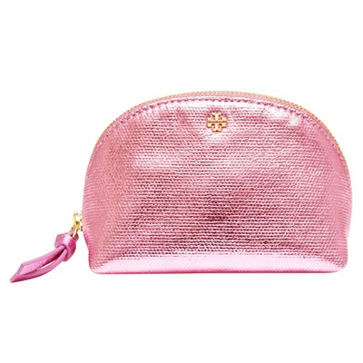 TORY BURCH 立體LOGO金屬感牛皮拉鍊化妝包-粉紅色