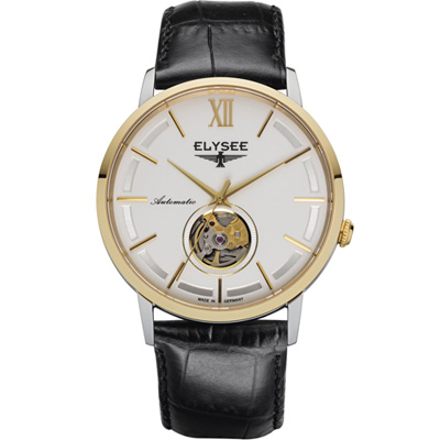 ELYSEE Picus 小鏤空經典機械錶-金色x白色/41mm