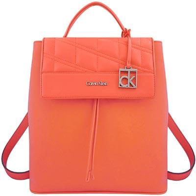 Calvin Klein 粉橘色皮革壓紋後背包