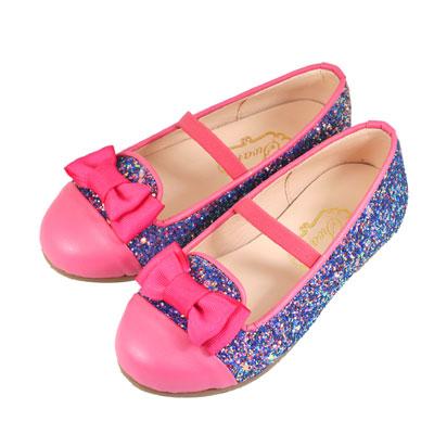 Swan天鵝童鞋-璀璨金蔥緞帶蝴蝶結樂福皮鞋 3823-桃