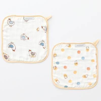 奇哥  竹纖維紗布方巾2入-快樂小雞