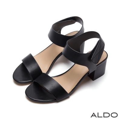 ALDO-原色一字繫帶魔鬼氈式復古木紋涼鞋-尊爵黑色
