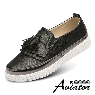 Aviator*韓國空運-PAPERPLANES正韓製流蘇漆皮銀邊樂福鞋-黑
