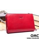 OMC - 原皮魅力系列舌扣零錢包二折式中夾-經典紅