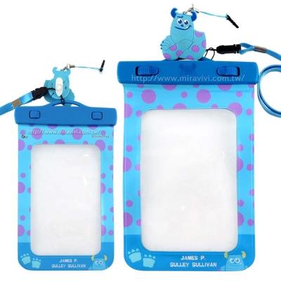 Disney迪士尼6吋通用可愛繽紛手機防水袋(附夾子捲線器耳機塞)-毛怪