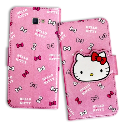 Hello-Kitty-三星-Galaxy-J7-Prime-閃粉絲紋皮套-蝴蝶結粉