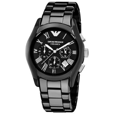 Emporio Armani 經典羅馬黑色陶瓷三眼計時腕錶-黑(AR1400)x43mm