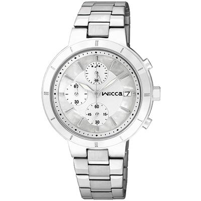 CITIZEN wicca 甜蜜時刻三眼計時腕錶(BM2-217-11)-珍珠貝x銀/34mm