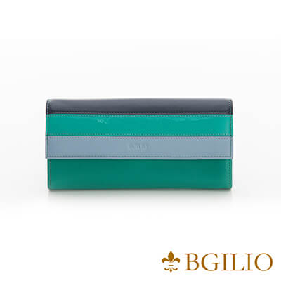 義大利Bgilio Nappa軟牛皮獨特配色釦式長夾-淺綠色-1942.324B-08