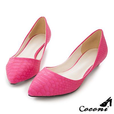 CoConi-韓國-淺口鱷魚格紋素面小低跟尖頭鞋